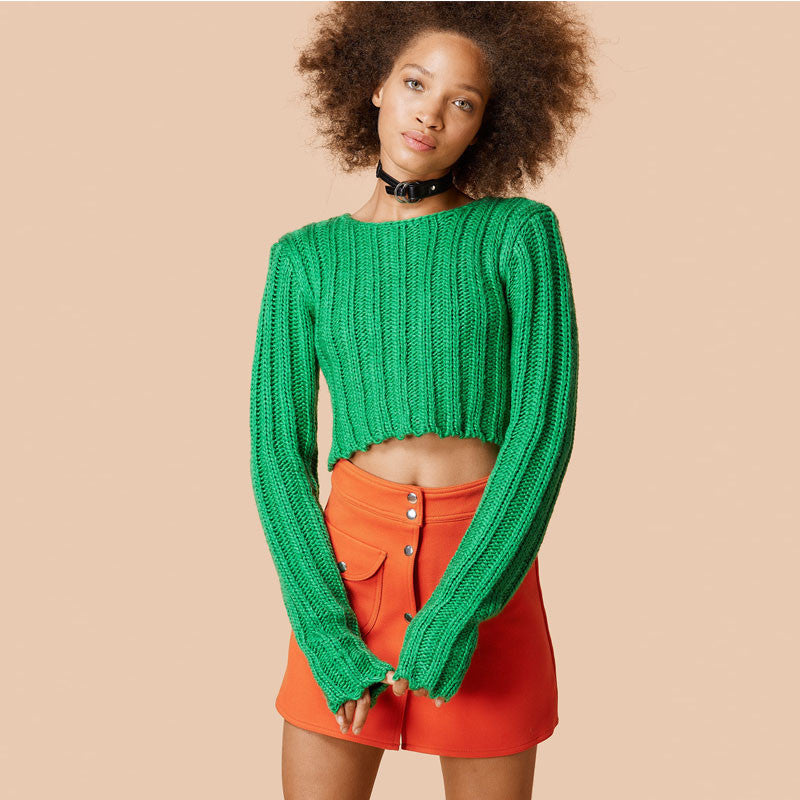 Sexy Long Sleeve Ribbed Crop Top Sweater - Oh Yours Fashion - 1