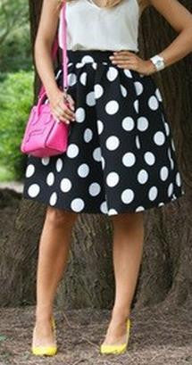 Black And White Dots Print A-line Middle Skirt - Oh Yours Fashion - 2