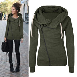 Fashion Long Sleeve Lapel Pocket Zipper Hooded Coat
