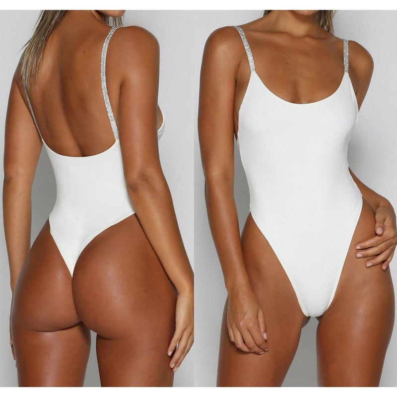 Sequins Spaghetti Straps Low Neck One Piece Swimwear