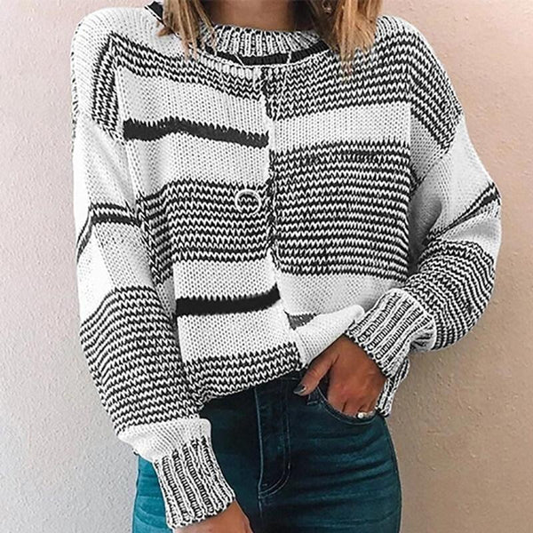 Patchwork Striped Pullover Sweater