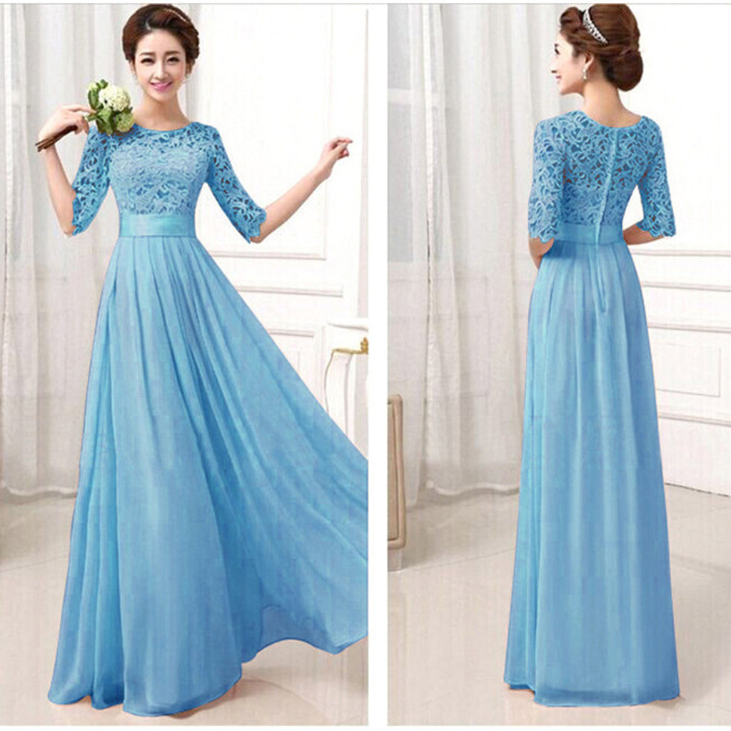 Lace Chiffon Patchwork High Waist Half Sleeves Long Party Dress – Oh ...