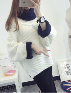 Korean Solid Color Knit Big Pullover Splicing Sweater - Oh Yours Fashion - 2