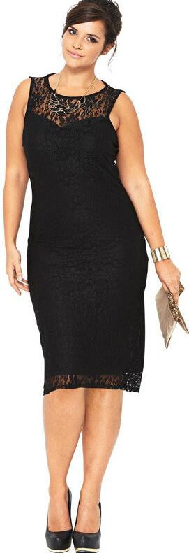Plus Size Black Lace Sleeveless Scoop Knee-Length Dress - Oh Yours Fashion - 2