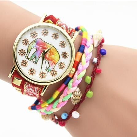 Elephant Print Colorful Strap Watch - Oh Yours Fashion - 3