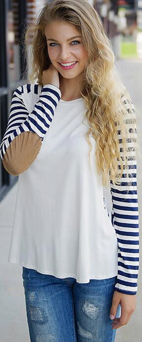 Fashion Long Sleeve Scoop Patchwork Stripe Blouse - Oh Yours Fashion - 2