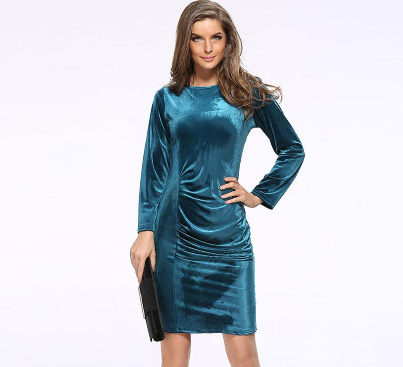 Korea Style Velvet Long Sleeve Drape Short Bodycon Dress - Oh Yours Fashion - 3