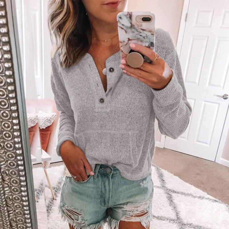 Button-Up Pure Color Pullover Sweater