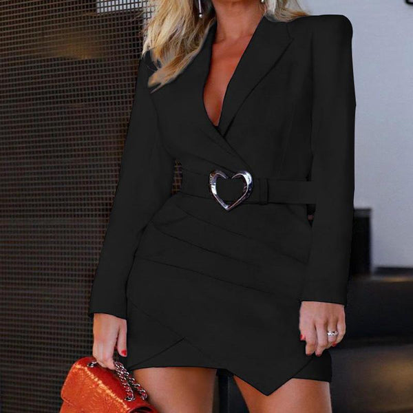 Casual Long Sleeve V Neck Belt Blazer Dress