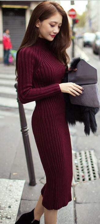 Fashion Ribbed High Neck Long Sleeve Knit Long Sweater - Oh Yours Fashion - 2
