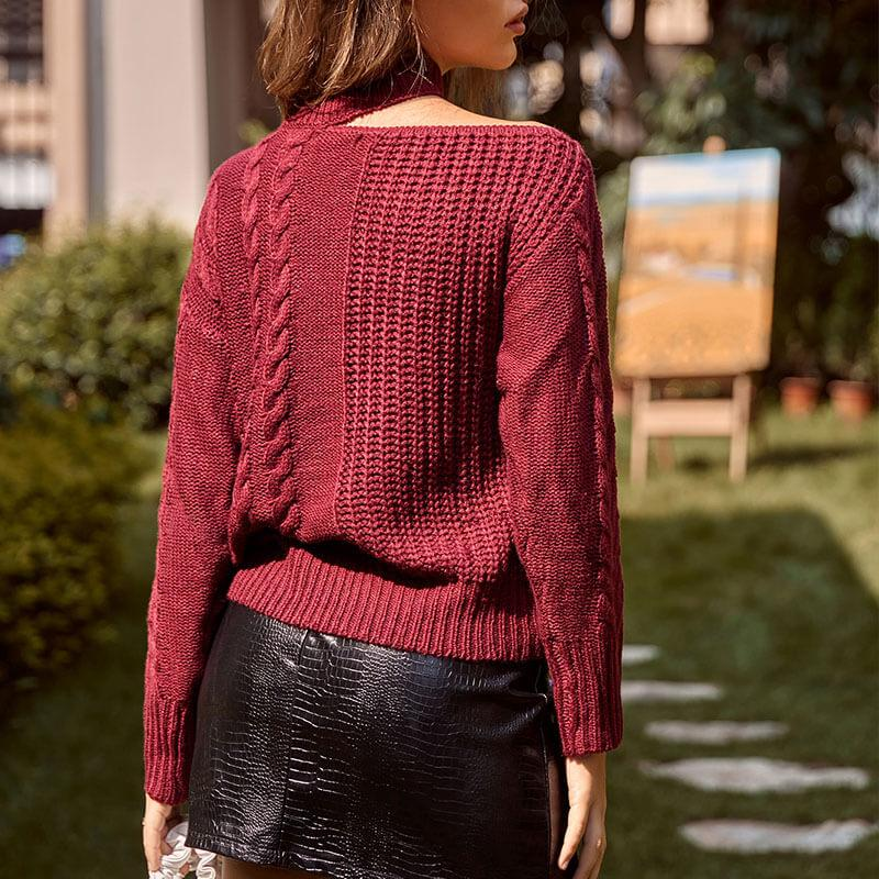 Burgundy Cable Knitted Sweater