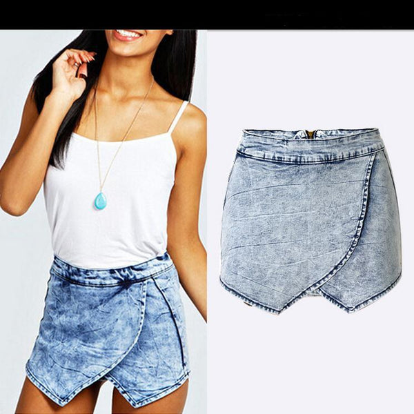 Summer Crossover Irregular Casual Denim Skirt Shorts - Meet Yours Fashion - 1