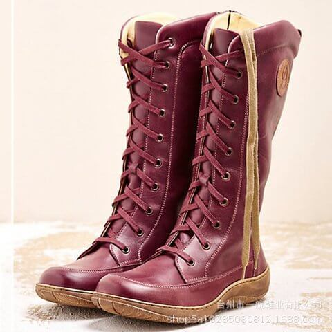 Knee High Leather Lace Up Flat Boots