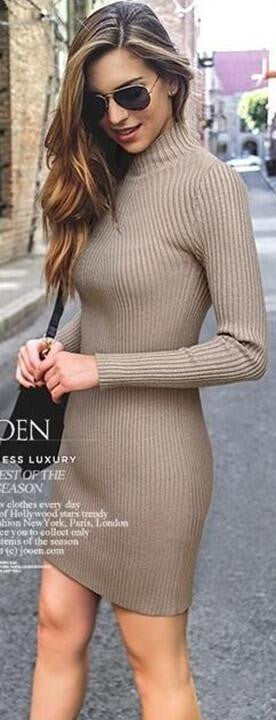 High Neck Bodycon Knitting Sweater Dress - Oh Yours Fashion - 2