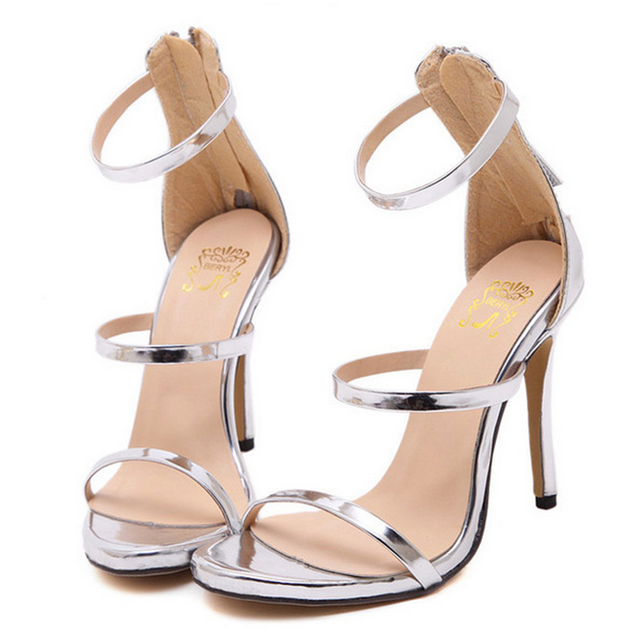 Simple Straps Open Toe Ankle Wrap Back Zipper Women High Heel Sandals