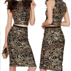 Sexy Sequins Geometric Print Knee-length Bodycon Two Pieces Dress - Oh Yours Fashion - 2