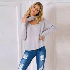 Fashion High Neck Hollow Out Pullover Knitting Sweater - Oh Yours Fashion - 1