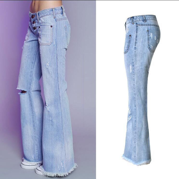 Fashion Low Waist Hole Long Wide Leg Denim Pants