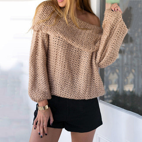 High Neck Long Sleeves Pure Color Regular Sweater
