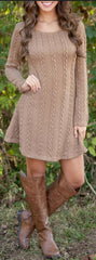 Knitting Round Neck Long Sleeve Sweater Dress - Oh Yours Fashion - 2