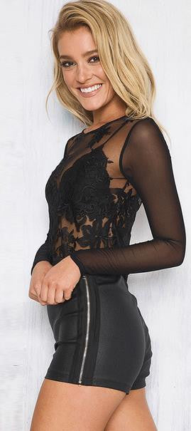 Lace Mesh Patchwork Long Sleeves Scoop Embroidery  Blouse - Oh Yours Fashion - 2