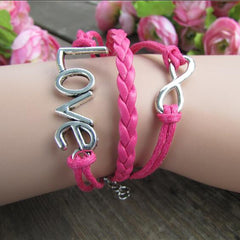 LOVE 8 Multilayer Pink Leather Cord Bracelet - Oh Yours Fashion - 1