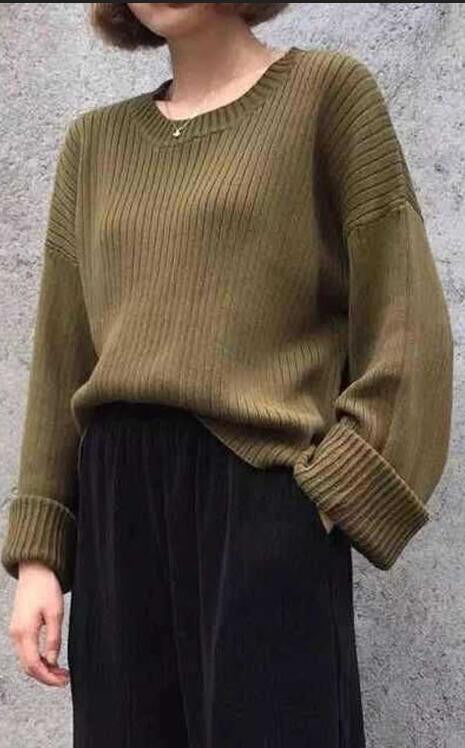 Retro Loose Ribbed Knit Bell Long-Sleeved Sweater - Oh Yours Fashion - 2