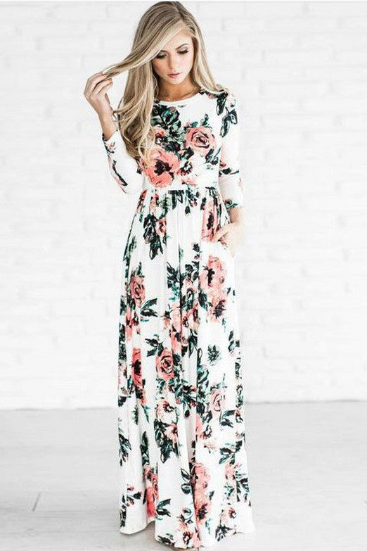Flower Print 3/4 Sleeves High Waist Long Party Dress