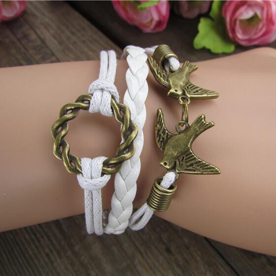 Romantic Birds Garland Leather Cord Bracelet - Oh Yours Fashion - 1