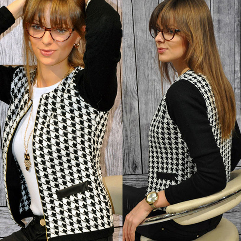 Scoop Zipper Print Color Blocked Short Slim Coat - Oh Yours Fashion - 1
