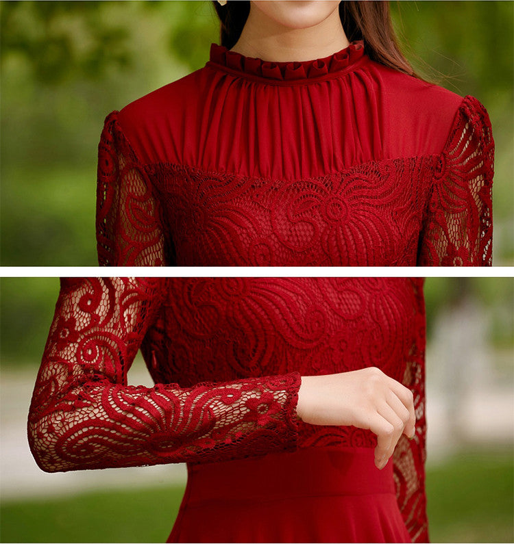 Charming Long Lace Sleeves Pleated Chiffon Long Red Maxi Dress - O Yours Fashion - 5