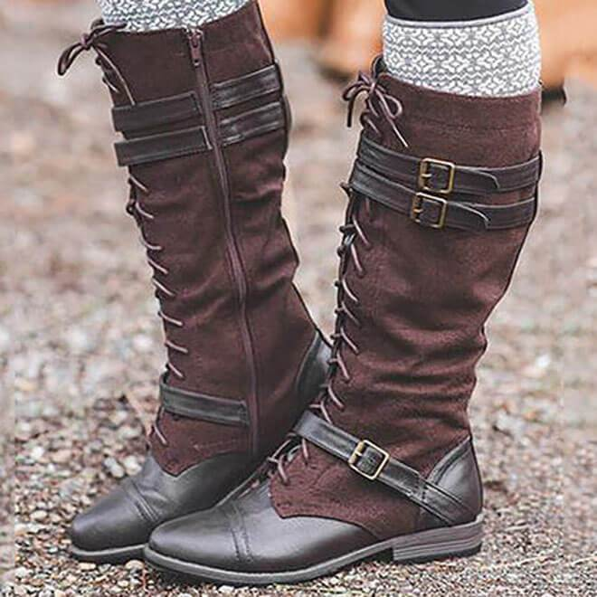 Mid Calf Lace-Up Buckled Flat Retro Boots