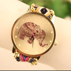 Wool Knitting Strap Elephant Print Watch - Oh Yours Fashion - 4