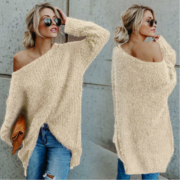 Scoop Neck Plush Loose Sweater
