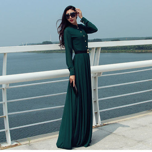 Long Sleeves Chiffon Button Decorate Pleat Long Maxi Dress - O Yours Fashion - 5