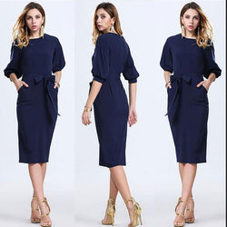 Royal Blue Office Knee-length Belt Dress - Oh Yours Fashion - 1