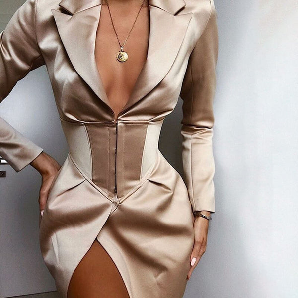 Long Sleeve V Neck Empire Waist Blazer Dress