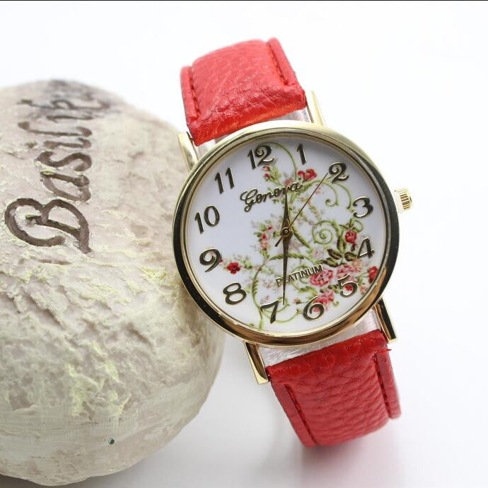 Classic Flower Print Leather Watch - Oh Yours Fashion - 3