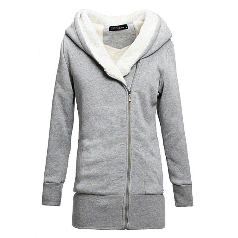 Korean Women Zip Fleece Warm Hoodie - O Yours Fashion - 5