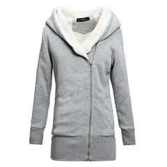 Korean Women Zip Fleece Warm Hoodie - O Yours Fashion - 6