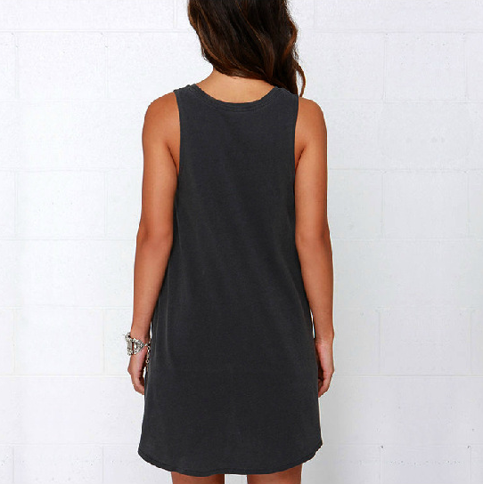 Pure Color Irregular Hollow O-neck Sleeveless Short Dress - Oh Yours Fashion - 4