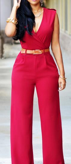 Irregular V-neck Sleeveless Wide Leg Pants Belt Long Jumpsuits - Meet Yours Fashion - 2