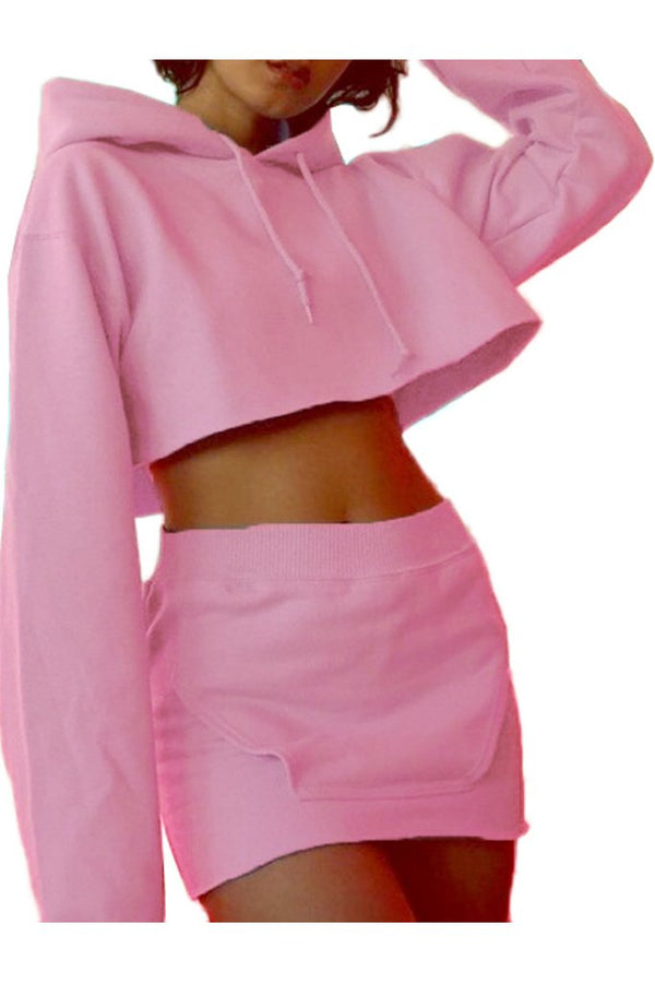 Candy Color Drawstring Hooded Crop Top With High Waist Short Skirt Two Pieces Set