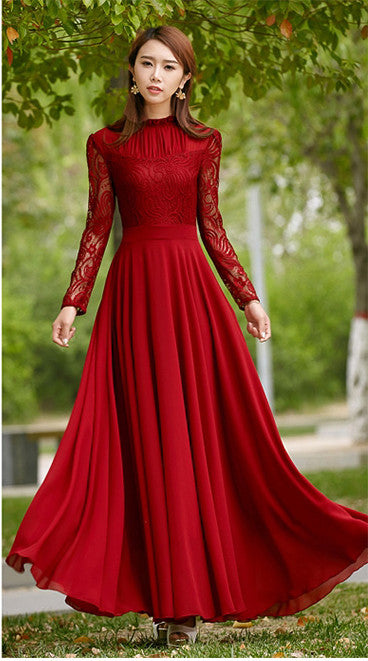 Charming Long Lace Sleeves Pleated Chiffon Long Red Maxi Dress - O Yours Fashion - 4