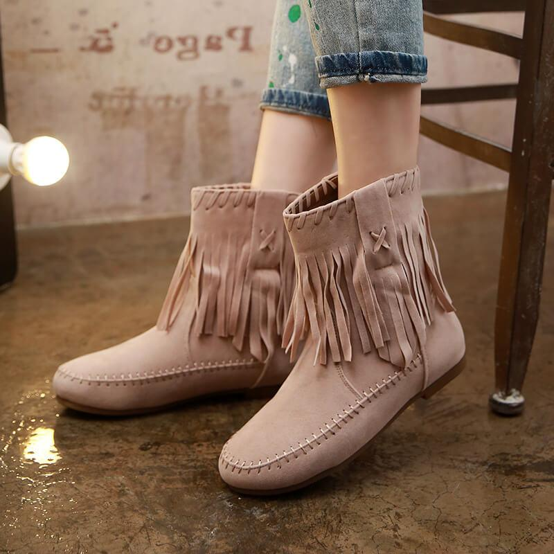 Fringe Low Heel Suede Round Toe Calf Boots