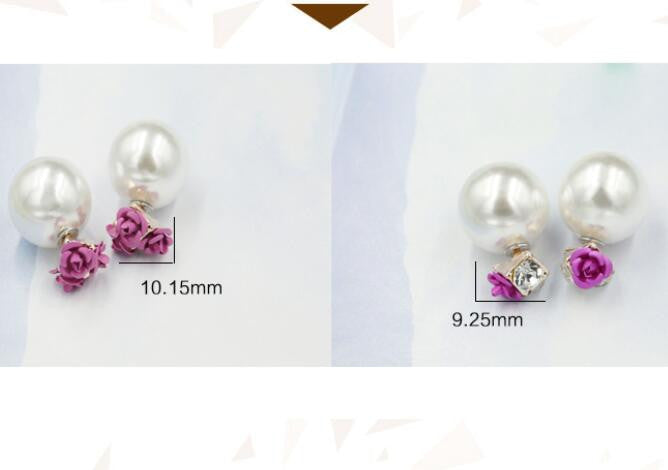 Sweet Roses Flowers Diamond Stud Earrings - Oh Yours Fashion - 9
