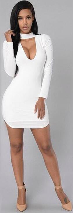 Pure Color High Neck Hollow Out Bodycon Irregular Short Dress - Oh Yours Fashion - 2