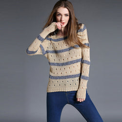 Fashion Stripe Hollow Out Pullovers Knitwear Sweater - Oh Yours Fashion - 1