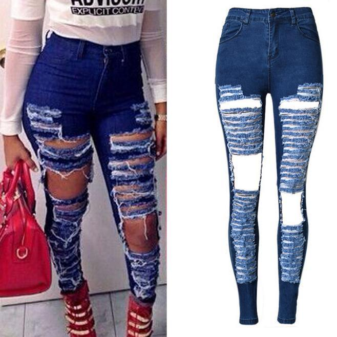 Ripped Beggar Street Straight Elastic Slim Plus Size Jeans - Meet Yours Fashion - 1