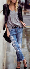Beggar Style Holes Ripped Frayed Loose Long Jeans - Oh Yours Fashion - 2